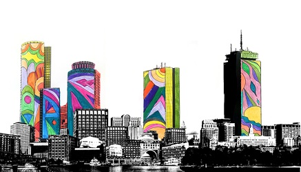 A drawing of Boston skyline